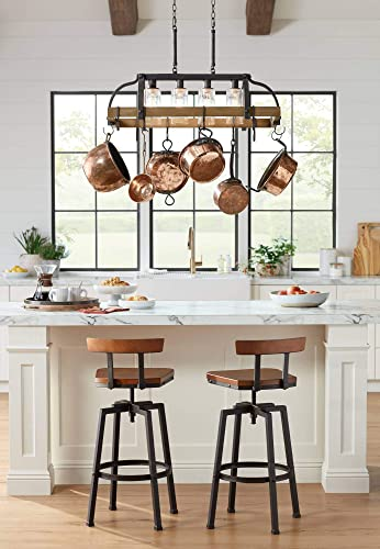 Eldrige Bronze Wood Pot Rack Linear Pendant Chandelier 36 1 2 Wide Rustic Farmhouse Clear Seeed Glass 4-Light Fixture for Kitchen Island Dining Room – Franklin Iron Works