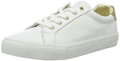 256c9afaa2613e GANT Footwear Damen Alice Sneaker Weiß (Bright wht.+Gold) 40 EU