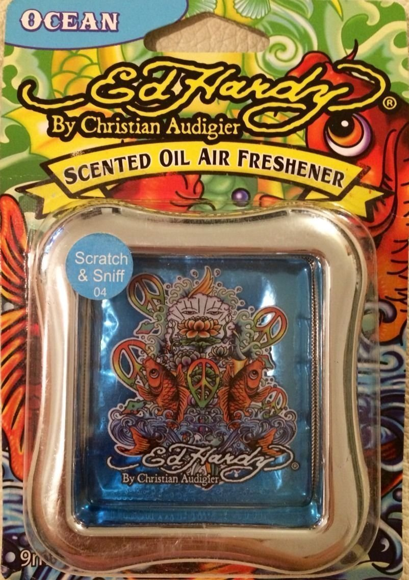 4 X ED HARDY Koi Fish By Christian Audigier ' SCENTED OIL AIR FRESHENER (OCEAN BLUE) by Unknown