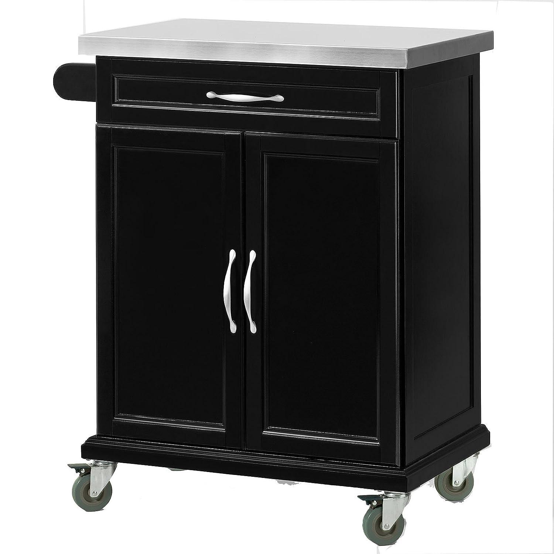 SoBuy® Luxus-Carrito de cocina con piso de acero, estantería de cocina, carrito de servir de madera, FKW13-SCH(negro/P66*L46*A92cm),ES