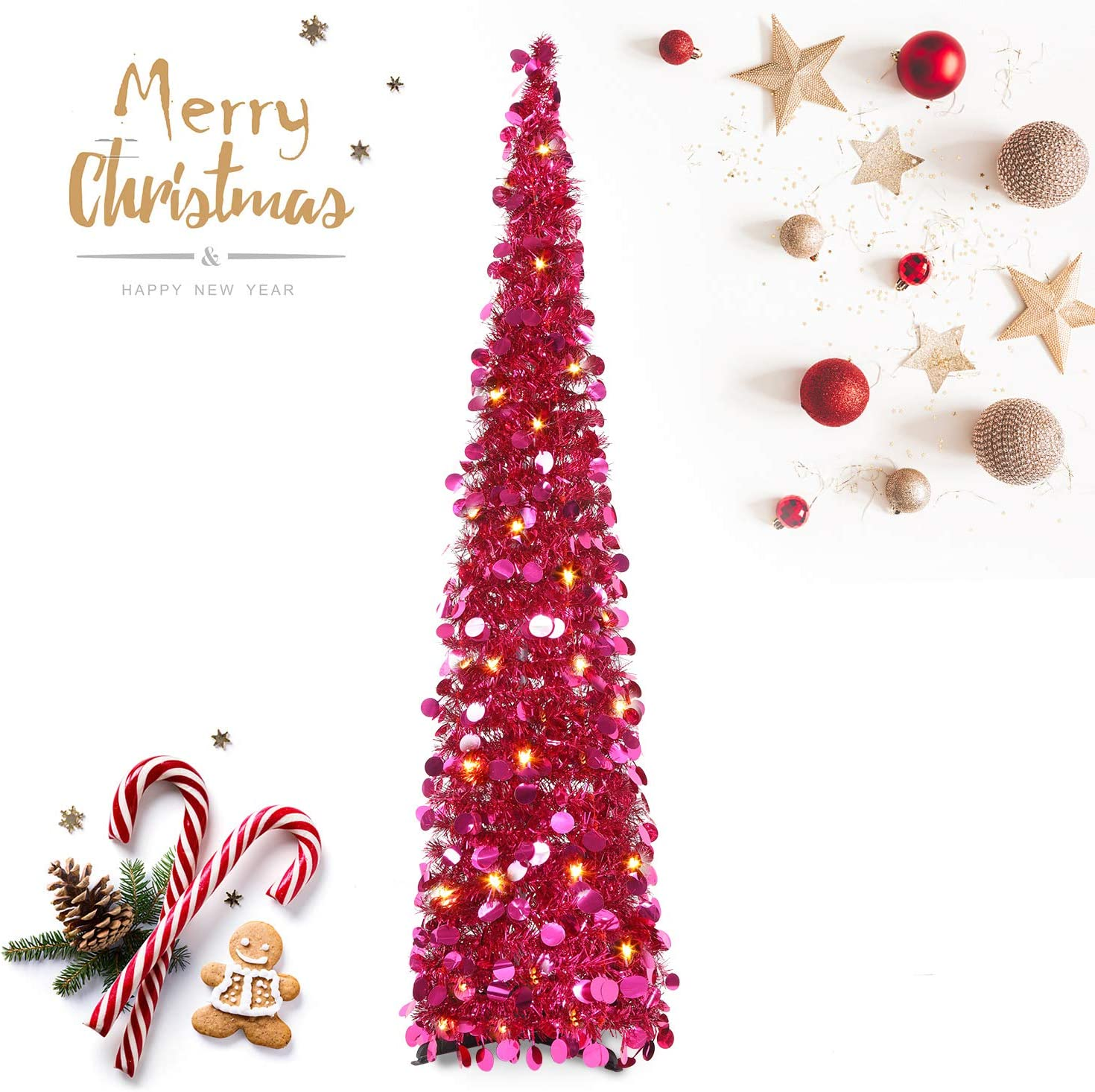 HMASYO Pop Up Tinsel Christmas Tree with Lights - 5 Foot Sequin Artificial Christmas Pencil Trees Xmas Decorations for Home Office Fireplace Party, Collapsible and Easy to Assemble (5 Foot - Red)