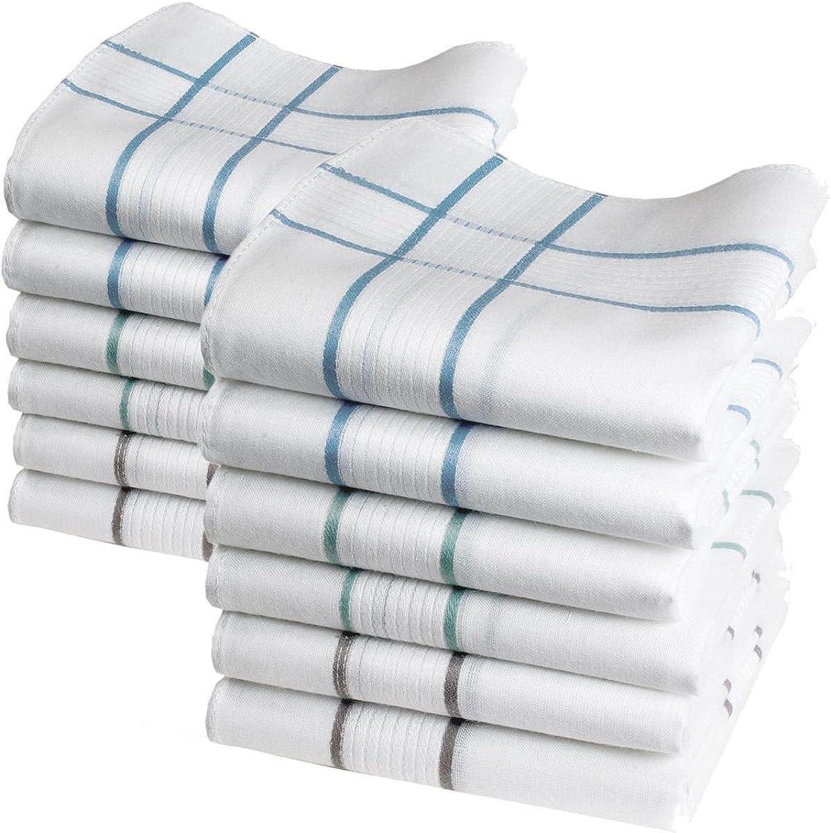 Merrysquare – Pañuelos para hombre discretos – Modelo Elliott – Tamaño grande 40 cm x 40 cm – 6 o 12 piezas – 100% algodón – Surtido 3 colores