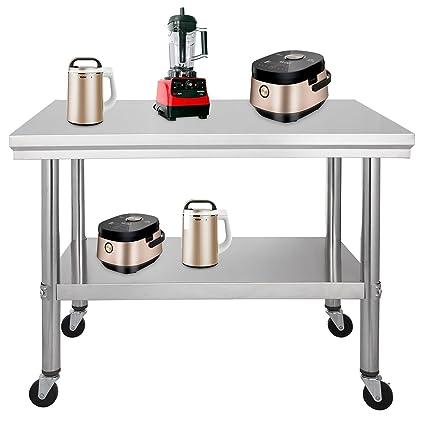 OldFe 76x61cm Tavolo Da Lavoro Per Cucina Professionale Acciaio Inox ...