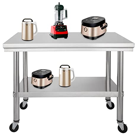 Oldfe 76x61cm Tavolo Da Lavoro Per Cucina Professionale Acciaio Inox