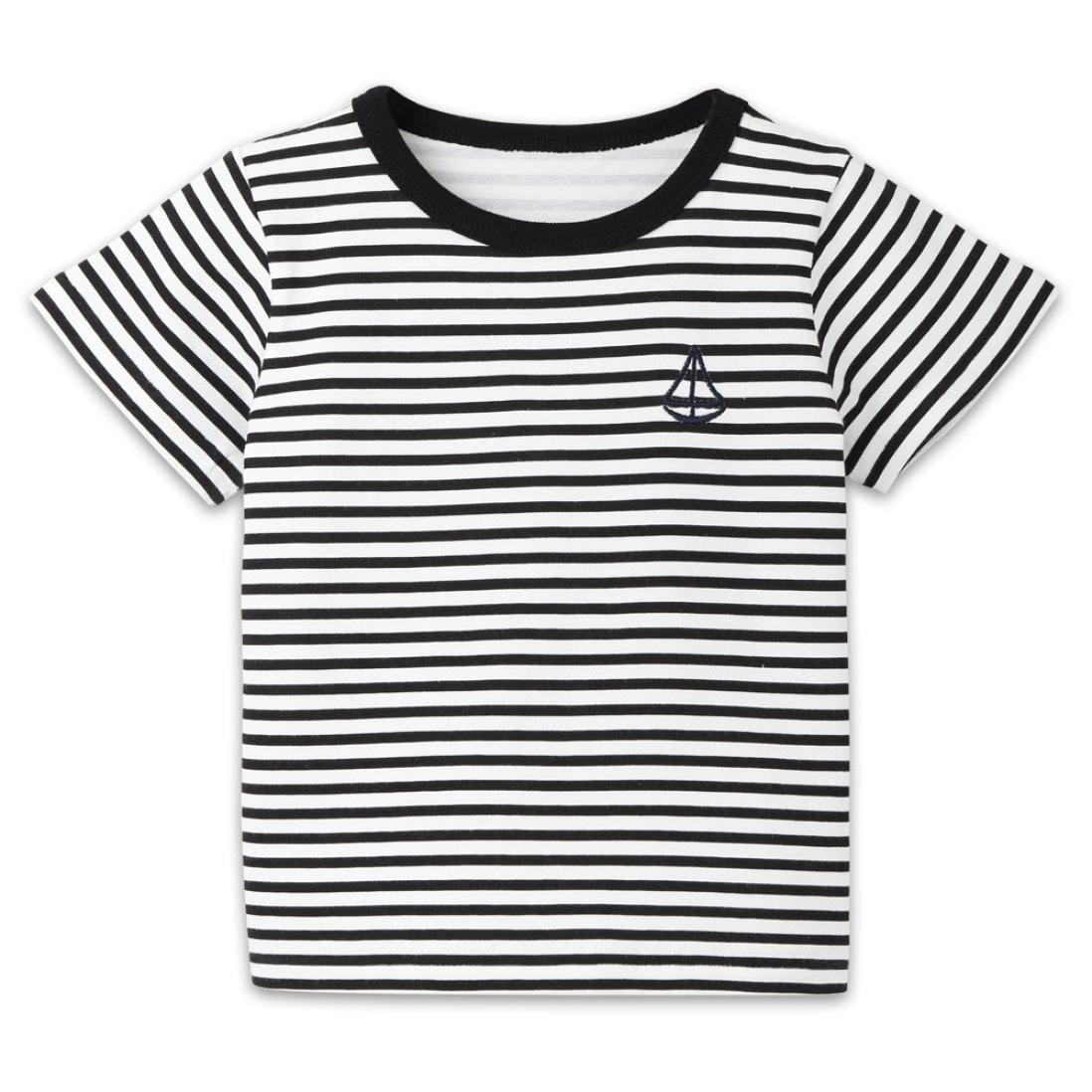 Jchen Baby Kids Girls Boys Striped Boat Print Short Sleeve T-Shirt Tops Shirts Tee for 1-7 T