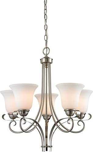 Elk Lighting 1005CH 20 Thomas Lighting Chandelier, Brushed Nickel