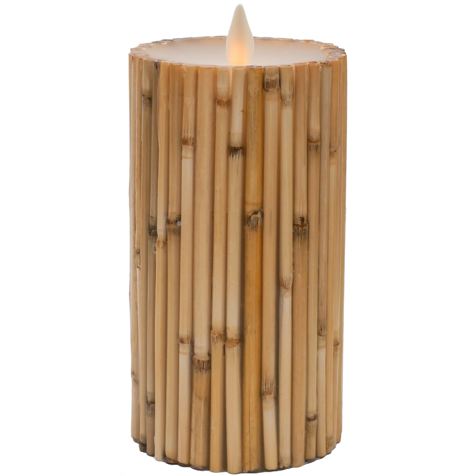 "Hooga Life Bamboo Flameless Candle – 5"" Tall x 3"" Diameter Real Wax Pillar, Battery Operated LED Flickering Wick, Timer - For Safe Indoor and Outdoor Use – Remote Control Ready"