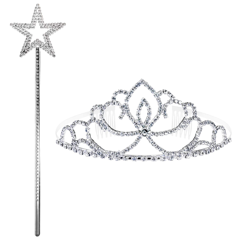 PAMIYO Strass Krone Silbernes Zauberstab 1St/ück Kristall Prinzessin Krone und 1St/ück Zauberst/äbe f/ür Kinder und Erwachsene Hochzeit Geburtstag Party Prom Braut Brautjungfern