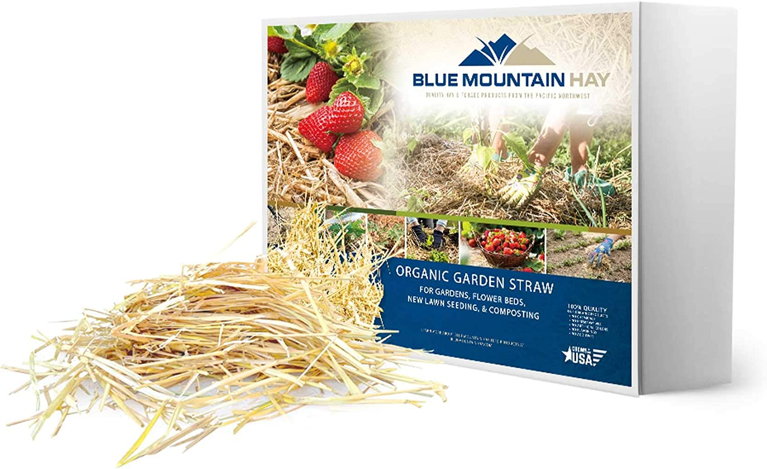 Blue Mountain Hay 100% Organic Garden Straw Mulch (5 lb.) for Raised Bed Gardens, Yard Landscaping, New Lawn Grass Seed Plantings, Tomato and Vegetable Compost & Fertilizer (Covers up to 75 sq. ft.)