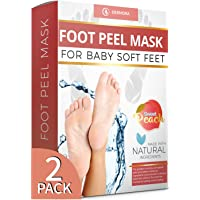 Peach Foot Peel Mask - 2 Pack - For Cracked Heels, Dead Skin & Calluses-Make Your Feet Baby Soft- Removes & Repairs Rough Heels, Dry Toe Skin-Exfoliating Peeling Natural Treatment