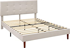 AmazonBasics Faux-Linen Upholstered Square Stitched Platform Bed - Mattress Foundation - Easy Assembly - Strong Wood Slat Support-Beige, Full