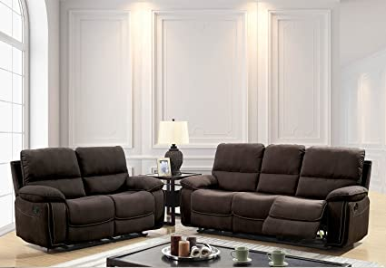 Esofastore Living Room Furniture Brown 3pc Sofa Set Sofa Loveseat Recliner  Chair Plush Cushion Reclining Couch