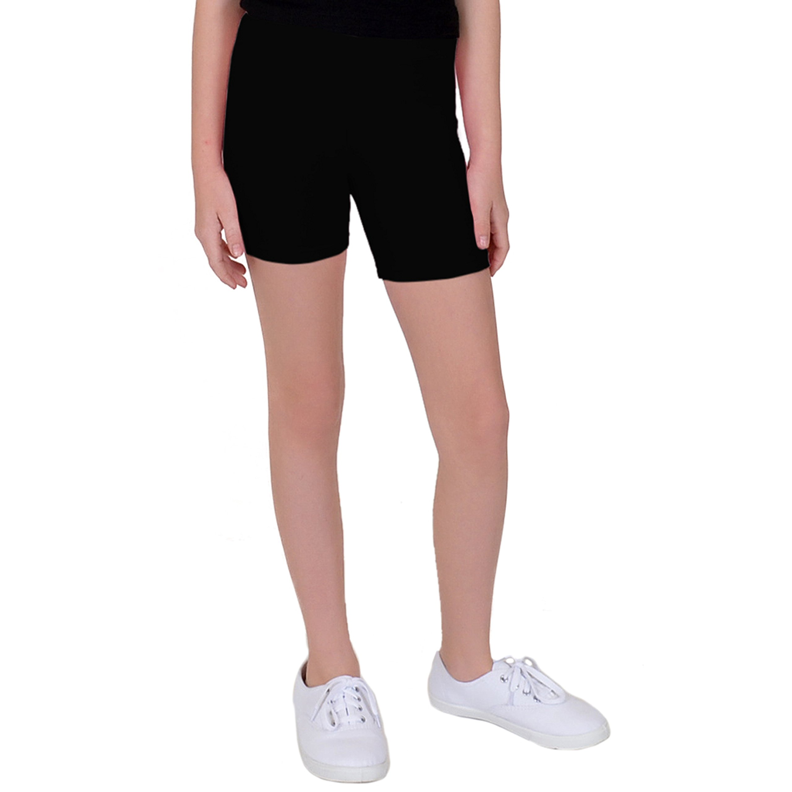 Stretch is Comfort Girl's Cotton Biker Shorts Black Small