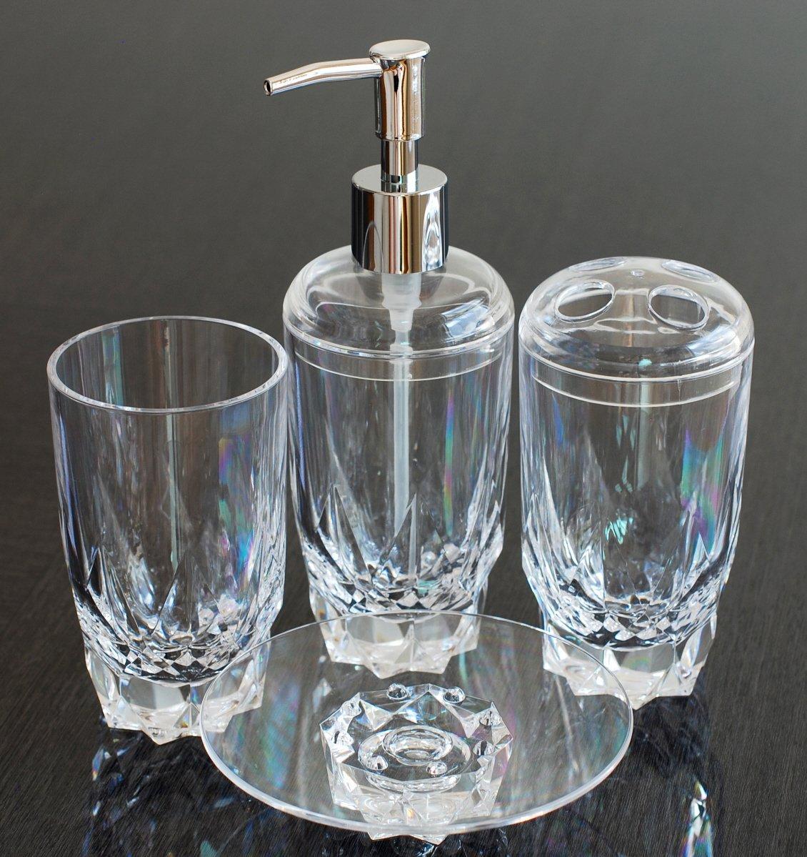 Qg 4 pc crystal clear acrylic plastic diamond shape heavy for Bathroom holder sets