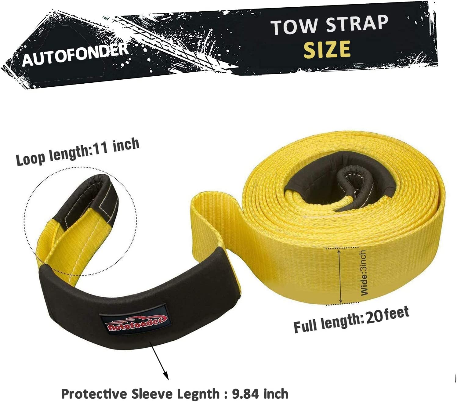 Autofonder Heavy Duty recovery Tow Strap Towing Belt Tow Rope up to 6 Meter Long With 2 safety Hooks and Storage Bag Protective Sleeves Emergency Off Road Yellow