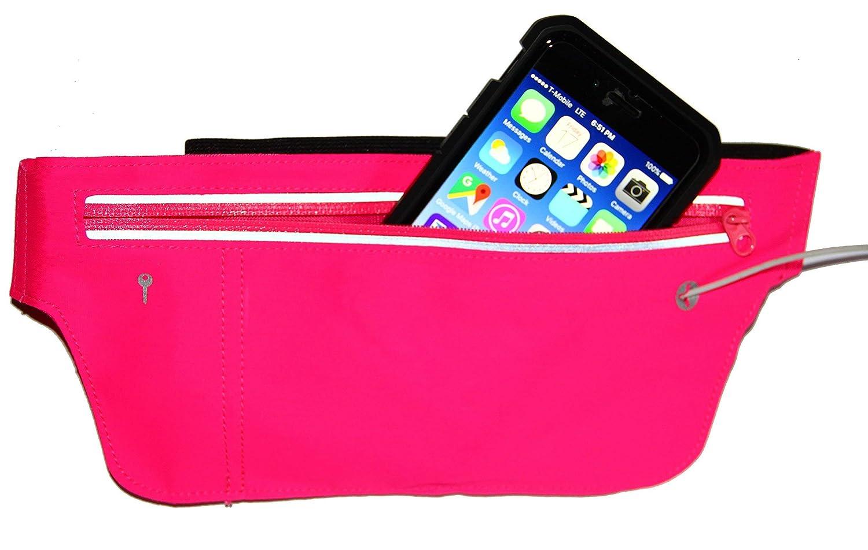 i2 Gear Running Belt Money Belt – Waist Packs Fitness Runners Belt Case Holder for Apple iPhone 10 X XS 6 6S, iPhone 6 Plus, Samsung Galaxy S10 S9 S8 S7 S6, Edge Pink