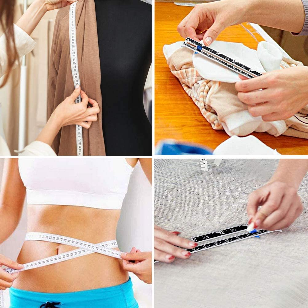 zanyu 3 Pieces Sliding Gauge Sewing Measuring Tool Aluminum Quilting Ruler for Knitting Crafting Sewing Beginner Hemming Measuring