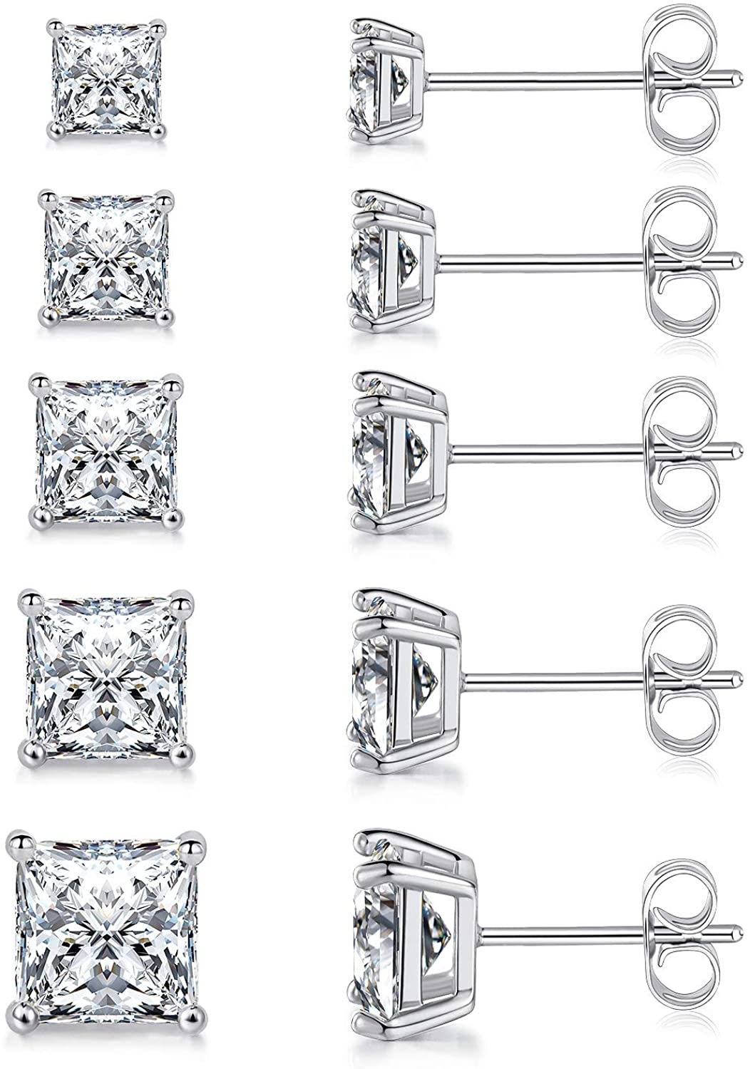 MDFUN 18K White Gold Plated Princess Cut Clear Cubic Zirconia Stud Earring Pack of 5 Pairs: Jewelry