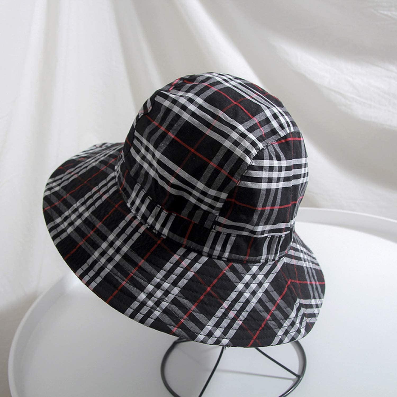 bb-5 2019 Cotton 4 Style Solid Plaid Bucket Hat Fisherman Hat Outdoor Travel hat,Black