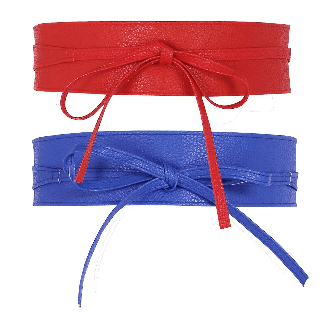 CHIC DIARY Fashion Women Faux Leather Bow Tie Waistband Elastic Stretch Waist Strap Cummerbund for Dress (#D-2pcs(red+blue))
