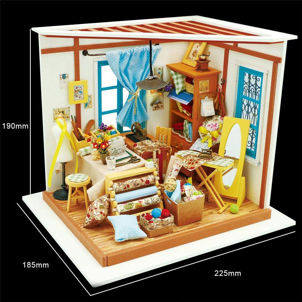 Godbless Puppenhaus DIY Mit LED Licht Schneiderei DIY Dollhouse Wünderschön Gestaltetes Modell Kreativ Weißnachts Kinder Geburtstag Spielzeug Geschenk