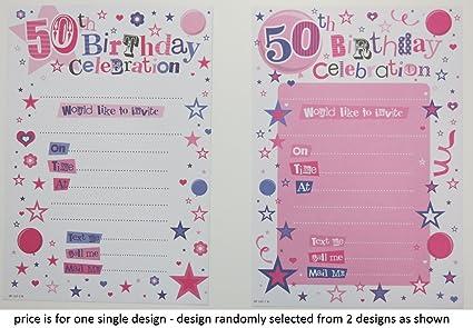 Amazon.com: 50th fiesta de cumpleaños Invitaciones (Rosa ...