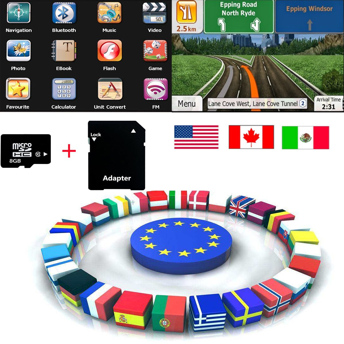 Quanmin Newest Android Gps Map 8G SD/TF Card USA Canada Mexico For Android System Navigation Map Updates GPS Software