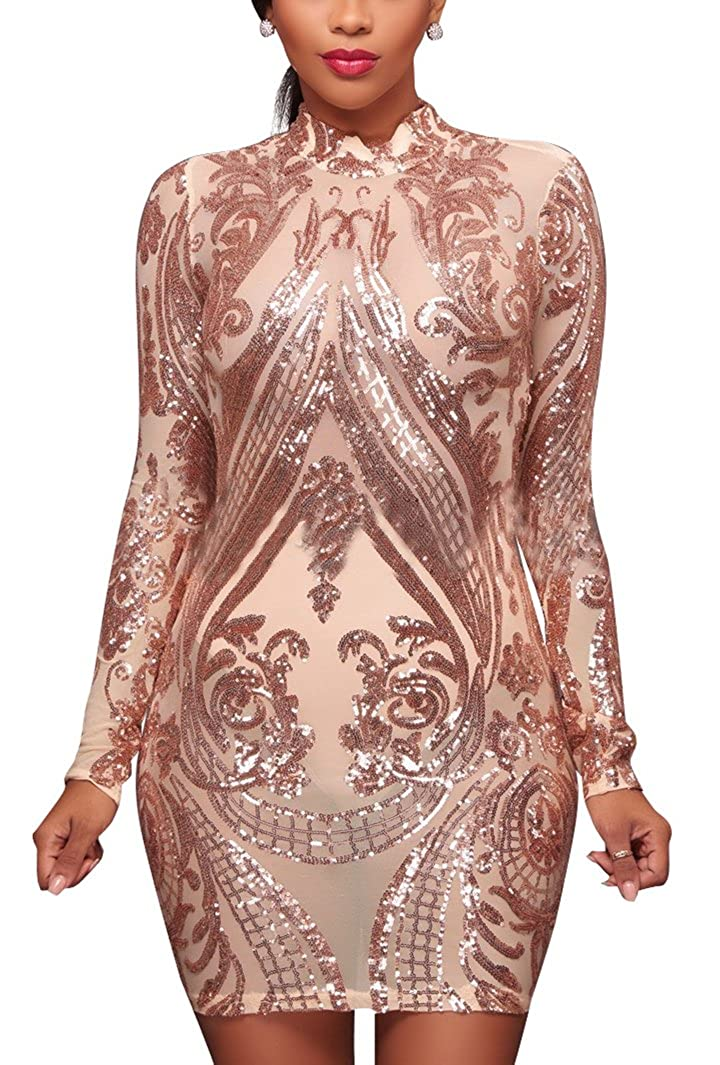 Speedle Womens Long Sleeve Sequin Mesh Backless Bodycon Pencil Party Midi Dress