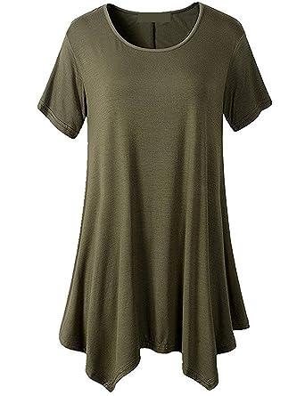 d6a809a8b1 Shirt Femme Eté Elégante Mode Top Shirt Irrégulier Manches Courtes Style de  fête Bouffant Uni Manche