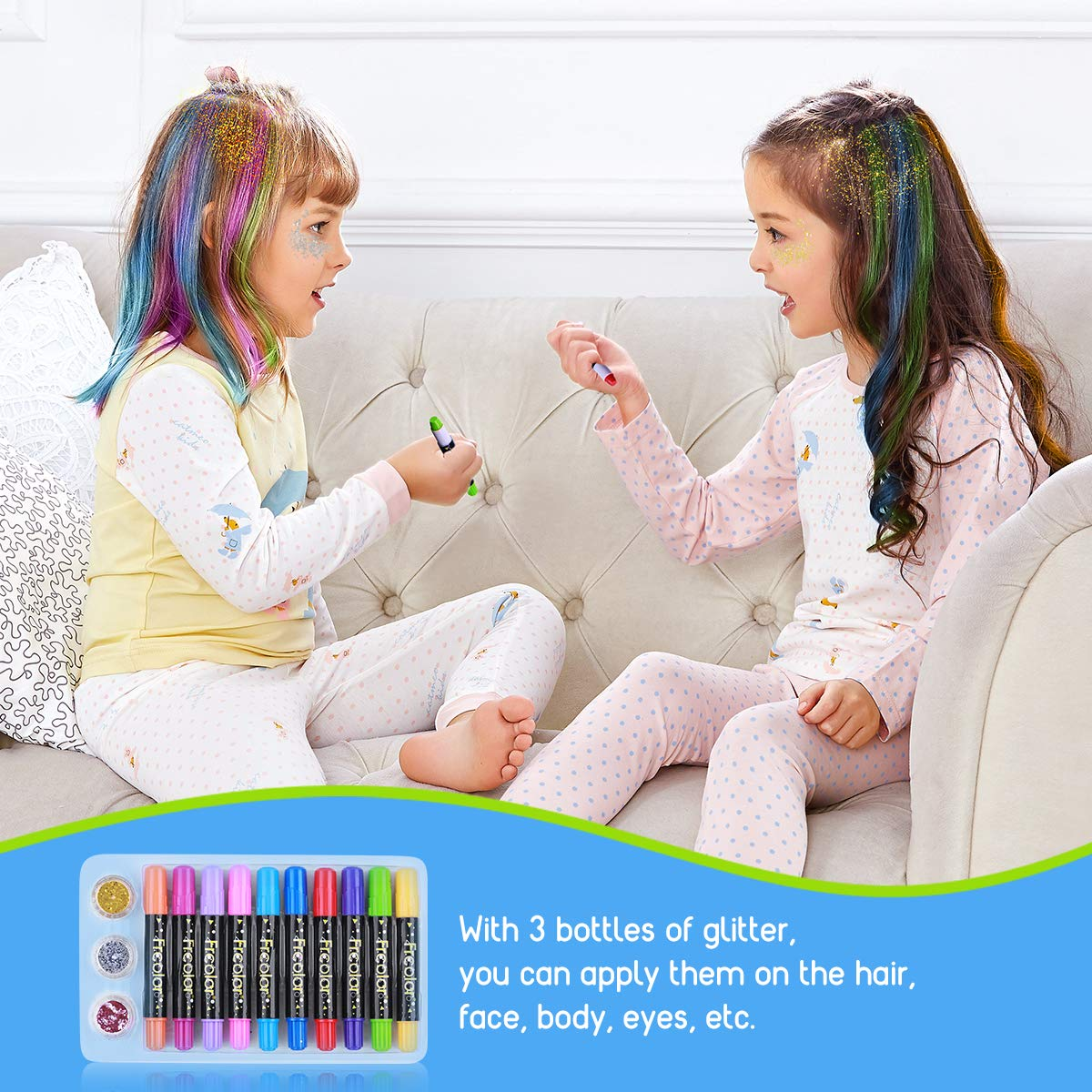 Hair Chalk for Kids, 10 Colors Temporary Hair Chalk Pens, Washable Hair Dye with 3 Colors Hair Body Glitters