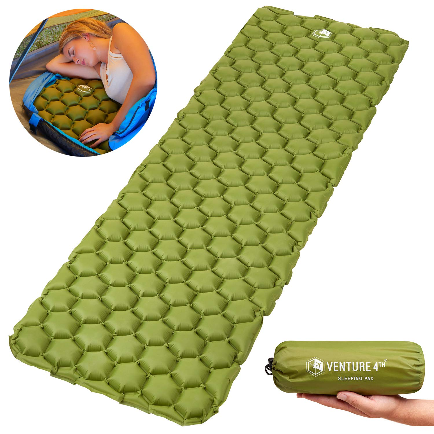 VENTURE 4TH Ultralight Air Sleeping Pad - Lightweight, Compact, Durable - Air Cell Technology for Added Stability and Comfort While Backpacking, Camping, and Traveling (Dark Green) by VENTURE 4TH