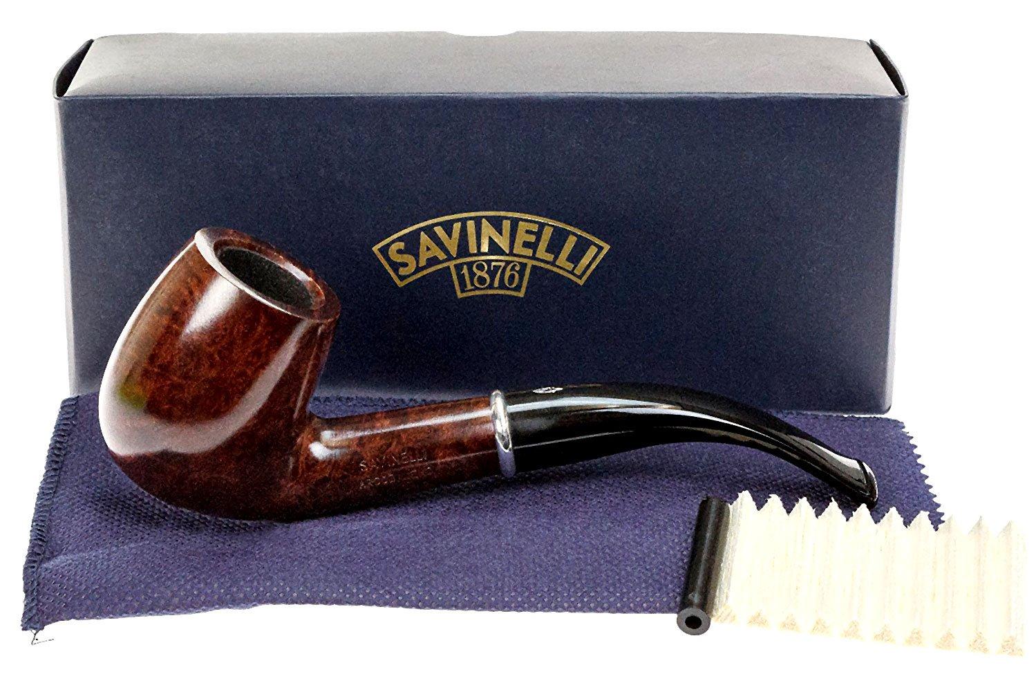 Savinelli Italian Tobacco Smoking Pipes, Arcobaleno Smooth Brown 606