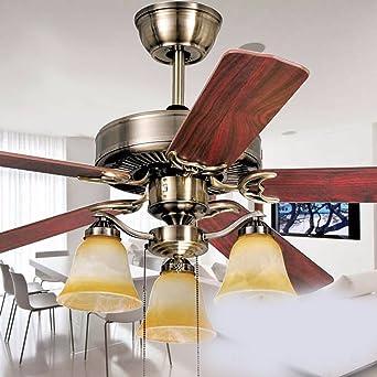 Sdkky Europäischen Stil Mahagoni Retro Moire Stripe Diaozhongyan Schlafzimmer  Deckenventilator Lampe 52 Zoll Große Kronleuchter Deckenventilator