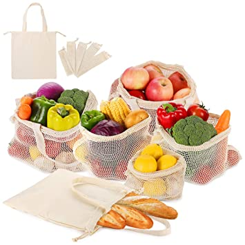 Reutilizables de Frutas y Verduras Bolsas de Algodón Producir Bolsas de la Compra con Bolsa de Pan Plástico ...