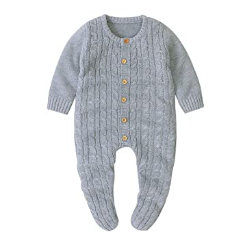 Newborn Baby Boy Girl Cable-Knit Sweater Romper Bodysuit Jumpsuit Clothes Outfit