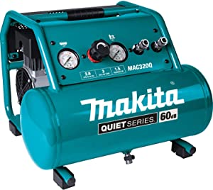 Makita MAC320Q Quiet Series 1-1/2 HP, 3 Gallon, Oil-Free, Electric Air Compressor