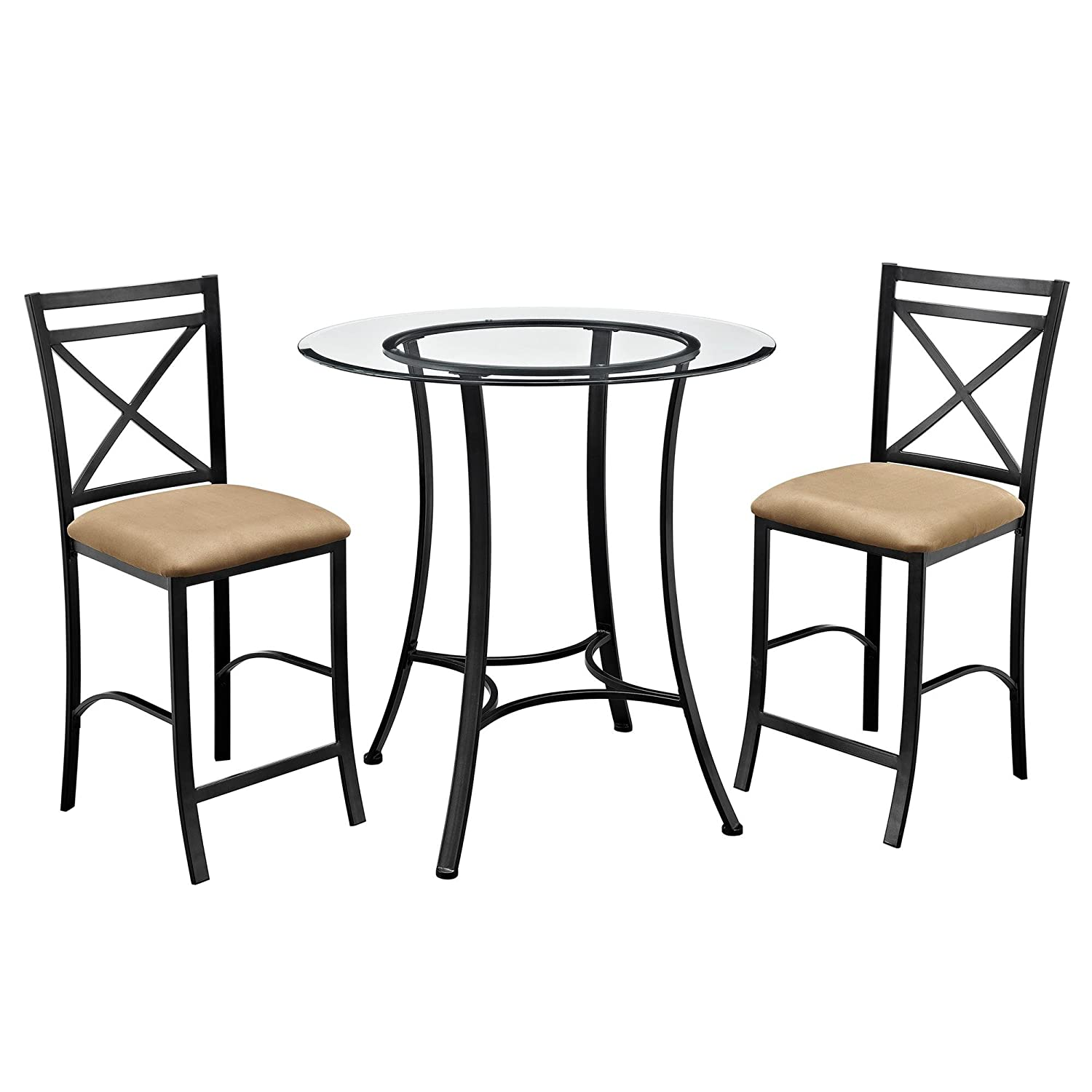 Dorel Living Valerie 3 Piece Counter Height Glass And Metal Dining Set Black Beige