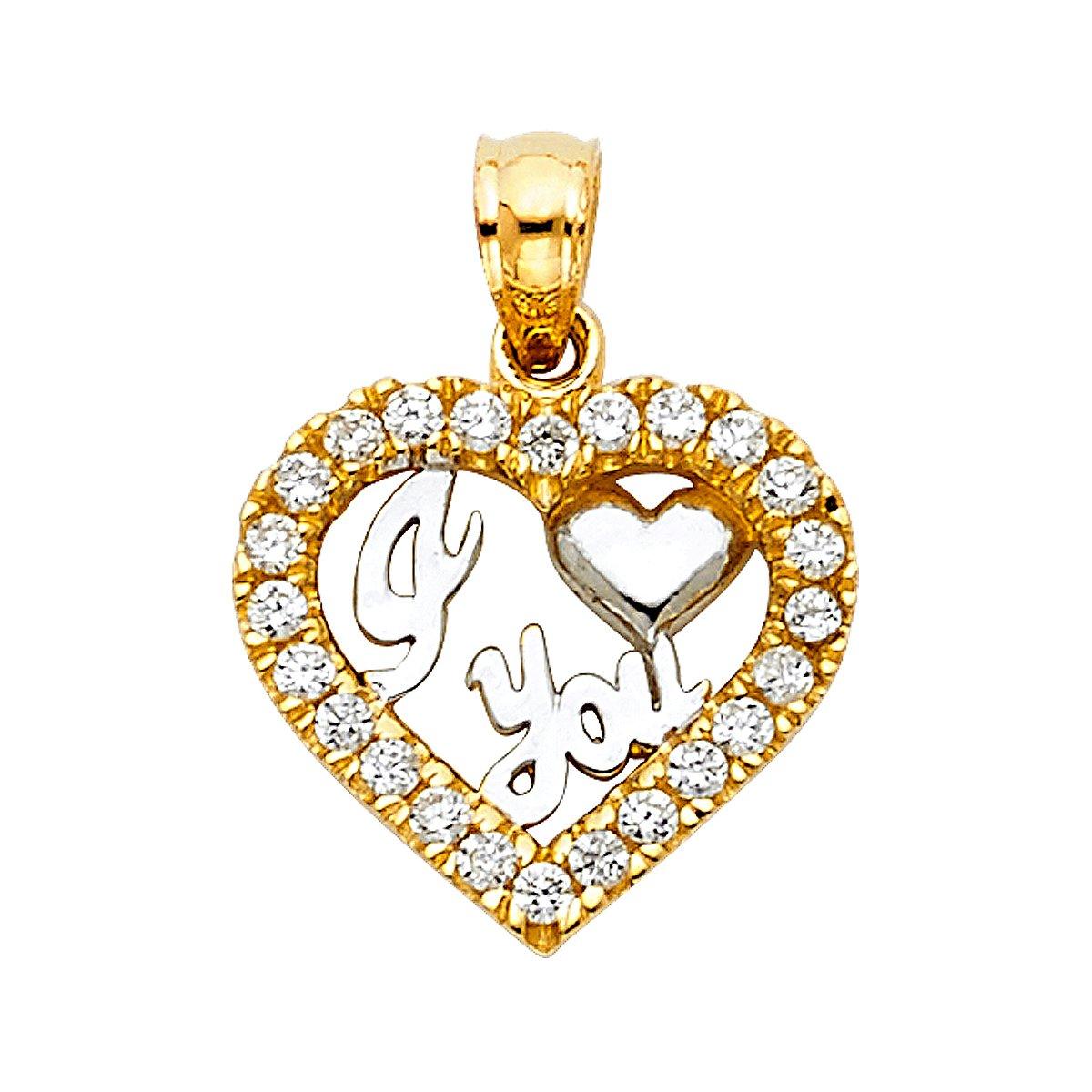 TGDJ 14K Yellow Gold I Love You Heart Pendant - Height 14 MM Width 15 MM