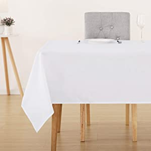 Deconovo Solid Rectangle White Tablecloth Oxford Wrinkle and Water Resistant Tablecloths for Kitchen Dining Room 60x120 Inch