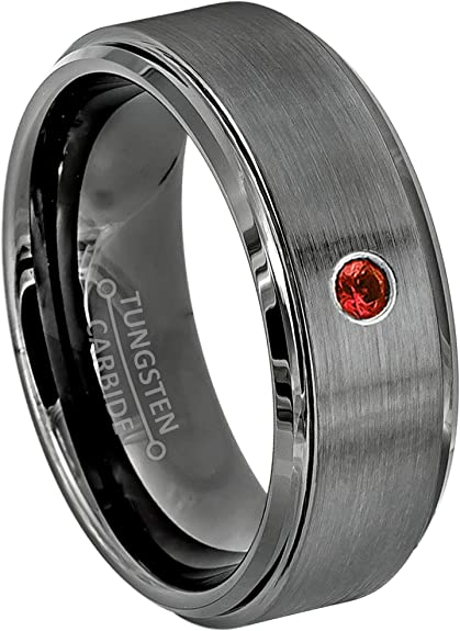 8MM Comfort Fit Polished Black Ion Stepped Edge Tungsten Carbide Wedding Band January Birthstone Ring Jewelry Avalanche 0.07ct Garnet Tungsten Ring