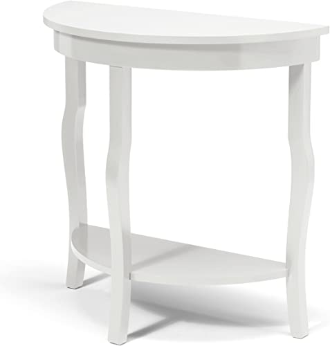 Kate and Laurel Lillian Wood Half Moon Console Table Curved Legs with Shelf, 30 x 14 x 30 , True White