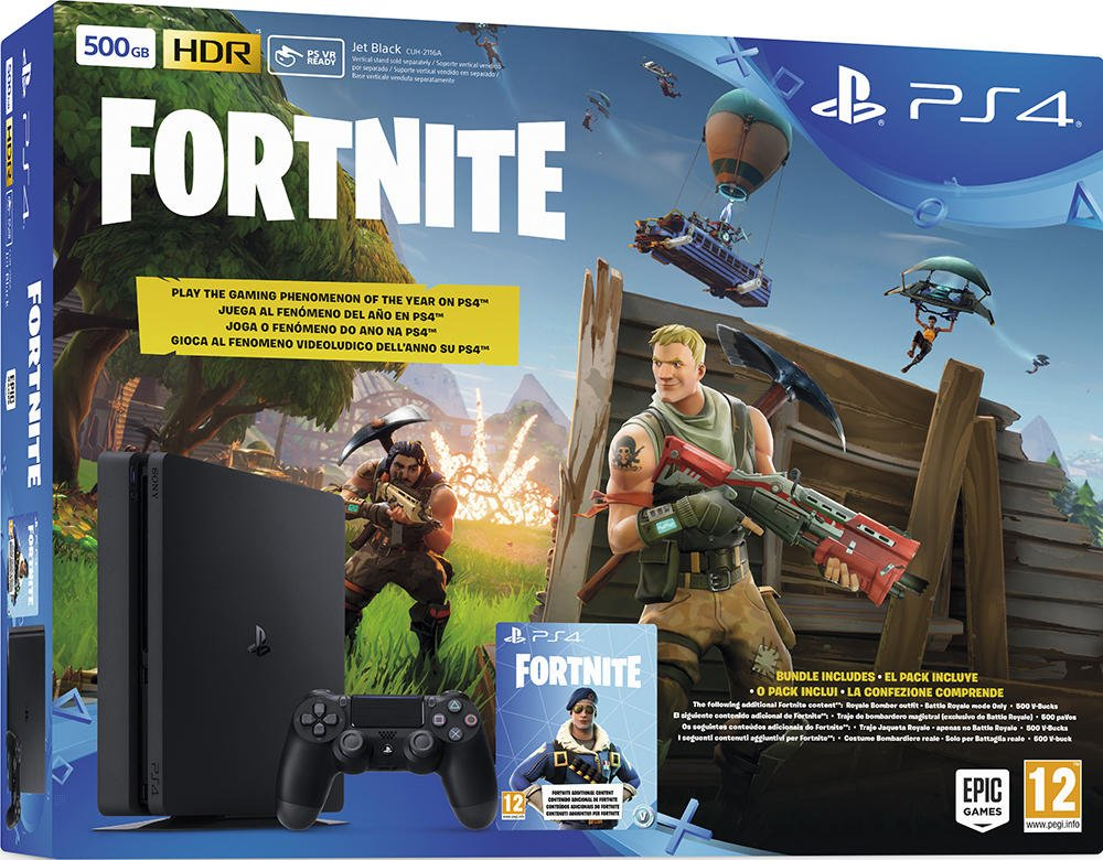 PS4 slim 500 Go E - noir + Fortnite [Importación francesa ...