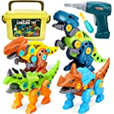 Dreamon Take Apart Dinosaur Toys for Kids 5-7 - Dino Building Toy Set for Boys and Girls with Electric Drill Storage Box - Co