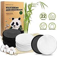 Lingette Demaquillante Lavable 22 Pcs Coton Demaquillant Reutilisable, 2 Couleurs Double Épaisseur Tampons Démaquillants en Bambou et Coton avec Sac à Linge, Boîte D'emballage Biodégradable