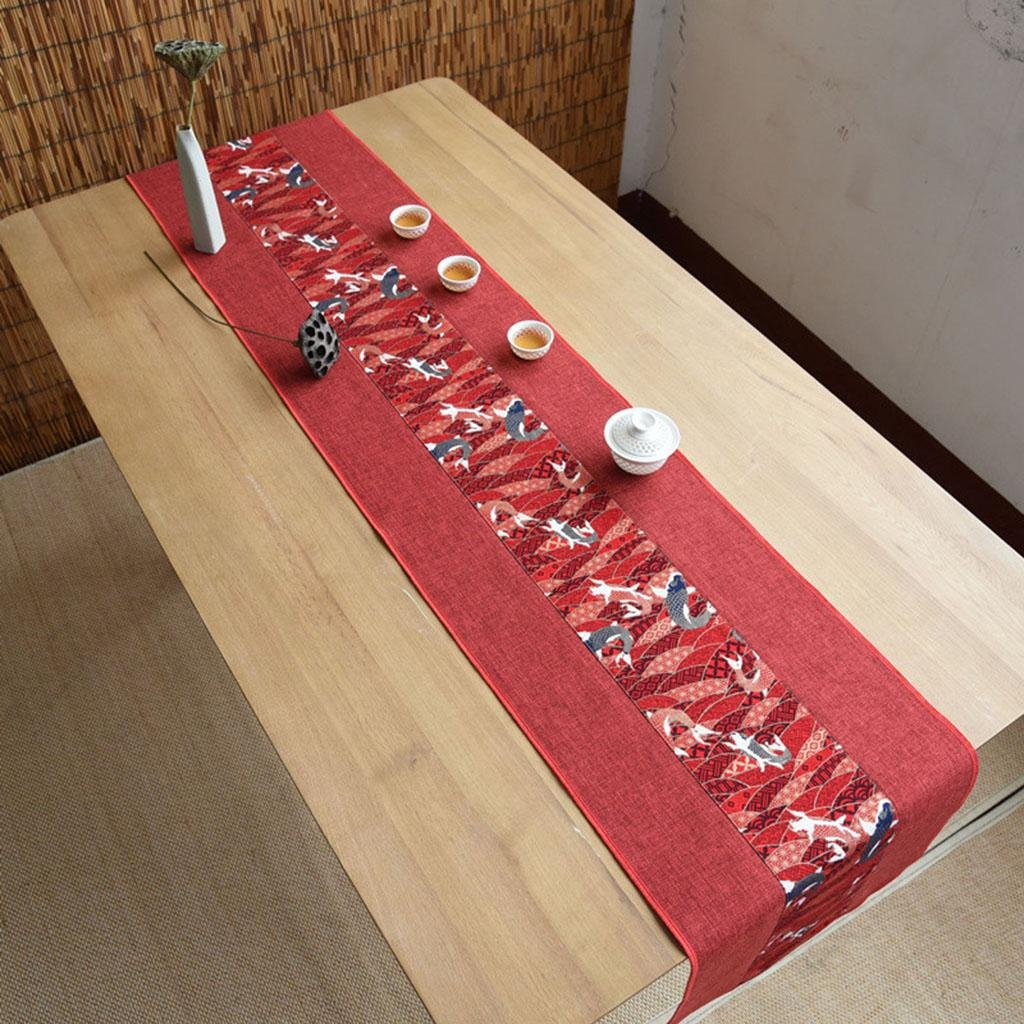 Kitzen Unterschrift Baumwolle TischläUfer Buddhistischen Stimmung Tee Tisch Kissen Ethnischen Stil Hochwertige Tisch Flagge Bett LäUfer Rot , 30240cm