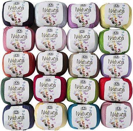 20 madejas DMC Natura Just hilo de algodón, 100% algodón, total 35.2 oz cada 1.76 oz (50 g) / 136 yardas (125 m), super fino, digitación 1 (14 wpi), varios colores hilo: Amazon.es: Hogar
