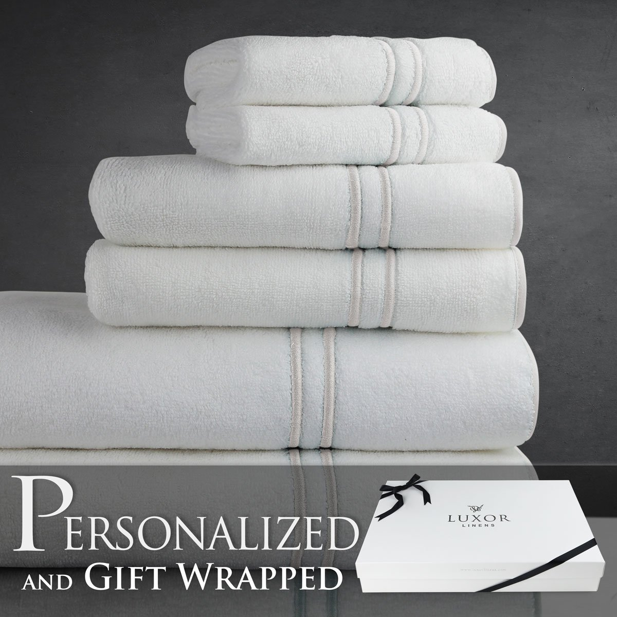 Luxor Linens New Arrival Turkish Towels Varese Collection Egyptian Cotton 6-Piece Towel Set - Pearl - Bride & Groom - Signature Gift Packaging included! The Perfect Engagement Gift!