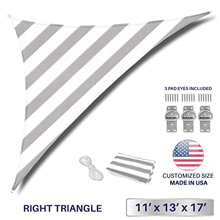 Windscreen4less 11 x 13 x 17 Triangle Sun Shade Sail – Wide Grey White Stripes Durable UV Shelter Canopy for Patio Outdoor Backyard Included Free Pad Eyes – Custom Size 3 Year Warranty