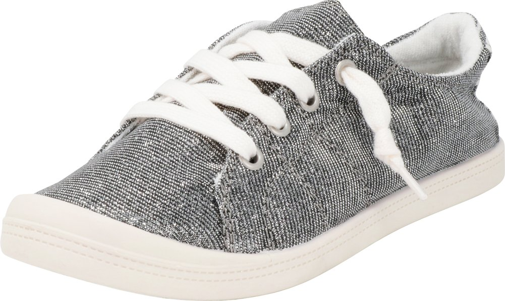 Cambridge Select Women's Slip-On Closed Round Toe No Tie Stretch Elastic Lace Fashion Sneaker … (6 B(M) US, Dark Grey)