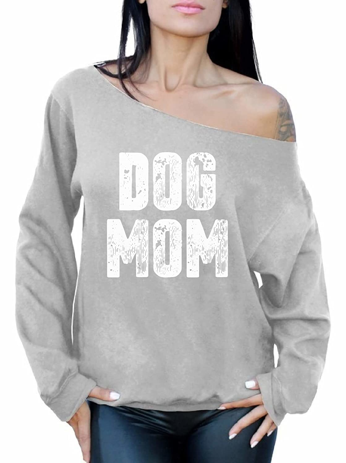 Awkward Styles Off Shoulder Mom Sweatshirt Dog Mom Best Mom Gifts for Dog Lovers